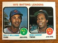 1973 Topps BILLY WILLIAMS ROD CAREW Cubs Twins Batting Leaders Baseball Card #61