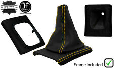 YELLOW STITCH LEATHER GEAR BOOT+SURROUND BASE FRAME FOR VW GOLF MK3 JETTA 91-98