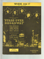 Stars Over Broadway 1935 WHERE AM I Movie Vintage Sheet Music Q04
