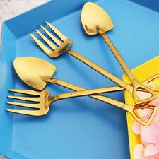 Stainless Steel Dessert Shovel Spoons Fork Kitchen Picnic Ice Cream Fruit Forks