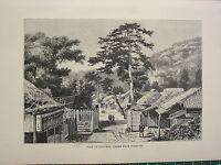 C1890 Antico Stampa ~ Vista Di Odovara Da Tokai-Fo ~ Giappone