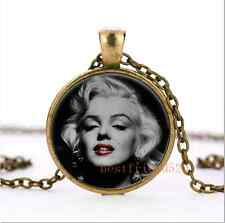 Classic Marilyn monroe Cabochon Glass Bronze Necklace for woman Jewelry