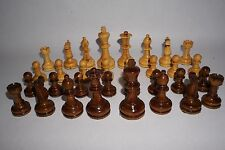 "Vintage Wooden Chess Pieces Large 3.5"" Queen 4"" King Lacquered Natural Wood"