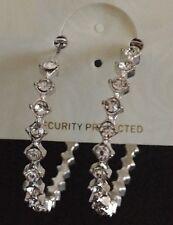 Brand New Silver Diamante Hoop Earrings