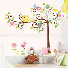 Owl Scroll Tree Wall Stickers Kids Nursery Room Removable Vinyl Wall Decals USA