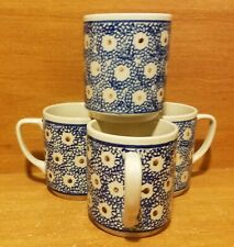 """Bolesławiec Mug set of 4, 3 1/2"""", Poland, Blue, Very good"""