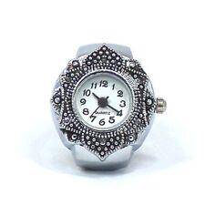 Quality  Flower New Alloy Petal Silver Cute Finger Ring Watch Quartz Jewelry