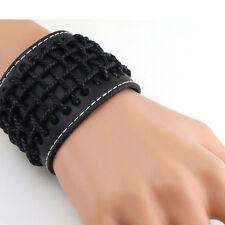 Gothic Punk Black Hemp Braided PU Leather Mens Wristband Bangle Bracelet Cuff