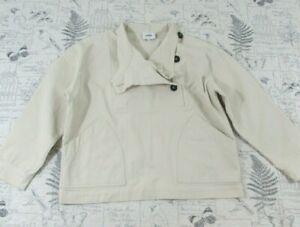 EUC POLDER Lagenlook cotton casual jacekt ivory boxy pullover size 38 Medium