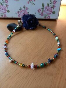 Gem stone & glass bead multicoloured necklace ~ hippy love beads reiki healing