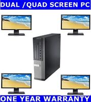 "DELL i3 2nd Gen COMPUTER PC QUAD SCREEN 480gb ssd + 2TB 8GB RAM 4 X 22"" Monitor"