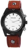 Men's Watch White Brown Black Analogue Quartz Metal Leather W-295172500009695