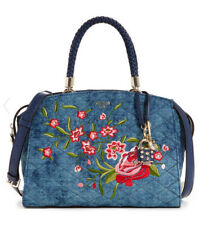 53a18a09f8 NWT GUESS Heather Embroidered Denim Satchel Handbag Purse Blue