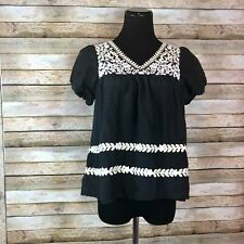 Hazel Hazel Hazel Women's Blouse Top Silk Blend Black Boho Theme Size Small S