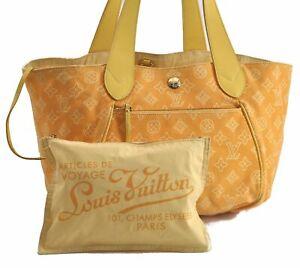 Auth Louis Vuitton Beach Line Cabas Ipanema PM Tote Bag Yellow M95985 LV B8138