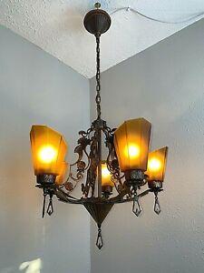 1930s Bronze On Iron Art Deco 5 Light Slip Shade Hanging Fixture