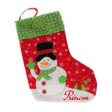 Botte Chaussette de Noël pour Sapin avec Prénom Personnalisé - Bonhomme de neige