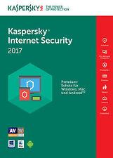 Kaspersky Internet Security 2017 3 PC / Geräte / 1Jahr Vollversion Antivirus