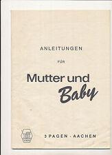 3 Pagen Mutter und Baby Arbeitsanleitungen Anleitungsheft  Modern Kaufen um 1969