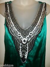 bebe NWT $129 S Silk Dress Beaded Carolina Emerald Green Black Sequins Party