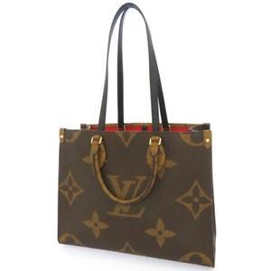 LOUIS VUITTON Onthego MM Monogram Giant Reverse Red Tote Bag Handbag 2way France