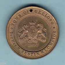 New listing Australia - Geelong. Queen Victoria - 1897 Jubilee Medallion. Unc - holed