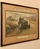 Large Framed Glazed Mounted Motor Racing Art Gallery Print 75x66cm