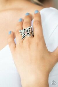 Flutter Flavor Pink Opalescent Cat's Eye Butterfly Statement Paparazzi Rings