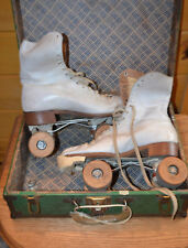 Vintage J C Higgins Womens 7 Roller Skates Original Box Wooden Wheels Tool