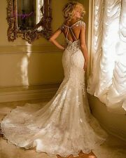 2017 High Neck Beaded Backless lace Wedding dress Bridal Gown Custom Size 2-16+