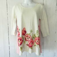 New $79 J Jill Top XS X Small Pink Floral Stripe Linen Blend 3/4 Sleeve