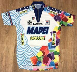 Mapei Bricobi Latexco Sportful white vintage cycling jersey size L-XL