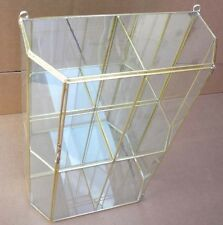 Large Glass & brass CURIO DISPLAY CABINET box for small Dolls, Bears display+