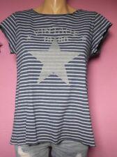 Italy Moda Ringel Shirt Tunika 36-38 Vintage blau weiß Streifen Glimmer Stern