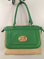 Emma Fox Straw and Leather Shoulder Bag Green.
