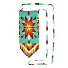 BG201-231 SM Purse Wallet Bag Hand Beaded Native Sunburst Design Turquoise Feath