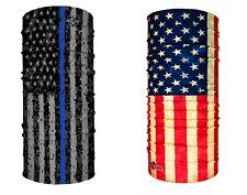 HOO-RAG OLD GLORY THIN BLUE LINE DIGITAL CAMO SET USA FLAG FACE MASK UPF30