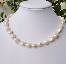 """NEW 9-10 mm baroque white freshwater pearl necklace 18"""""""