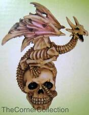 WINGED SKELETON DRAGON on SKULL STATUE PAPERWEIGHT
