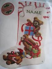 "Sunset Crewel Stitchery Holiday Stocking KIT,JINGLES LOVES CHRISTMAS,#2001,18"""