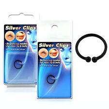 Negro de plata esterlina plateado falsa ilusión Cheater anillo de nariz-no Piercing -10 mm
