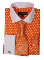 Men's French Cuff Dress Shirt with Polka Dot Design 3 Pc Set Orange Size 15~20