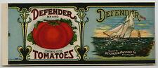DEFENDER Vintage Maryland Tomato, Sailboat, **AN ORIGINAL 1920's TIN CAN LABEL**