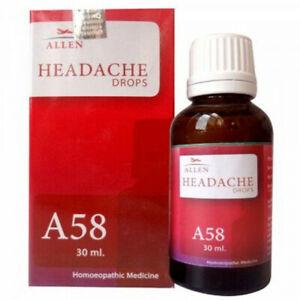 Allen A58 Headache Drops 30ml For Relieves Migraine, Tension Headaches.