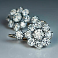 1.9Ct Round Diamond Cluster Art Deco Earrings 18K White Gold Finish For Women's