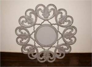 Wall Mirror Round Home Office Living Room Wall Hanging Art Sculpture MDF & Glass