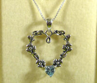 0.66ct Genuine Sky Blue Topaz 925 Sterling Silver Flower, Heart Pendant & Chain