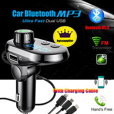 Wireless Bluetooth Car FM Transmitter MP3 Player Radio Adapter USB Charge iPhone