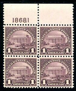 USAstamps Unused XF US 1922 $1 Lincoln Memorial Plate Block Sctt 571 OG MNH MVLH