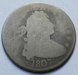 1807 Draped Bust Silver Quarter - AG, Scarce Early Date 25C